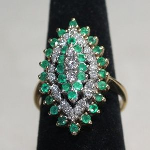 14K Yellow Gold Diamond & Emerald Cluster Ring
